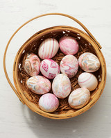 silk tie easter eggs in basket