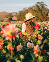 farmer standing in dahlia flower field