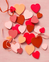 flat wooden hearts in red pink white