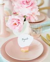 easter party table decoration flower and name tag