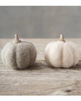 beige felt pumpkins