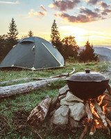 Camping Tent and Campfire