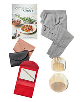 cookbook combs joggers and leather organizers