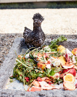 baby chicken by pile of food