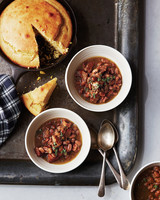 pressure cooker meal and bread tray spoons bowls