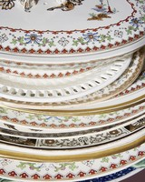 close up of decorative plates