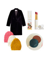 lipstick coat coin purse and winter hats