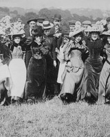 people lined up for photo in easter clothing