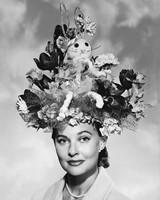 woman wearing elaborate easter hat