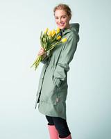 hunter green raincoat flowers