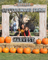 pumpkin patch photo booth mom daughter