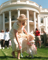 Kelly Newbold and daughter participating in white house easter egg roll