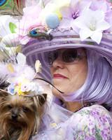 woman wearing lavender easter hat