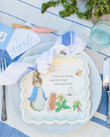 A place card at a Peter Rabbit-themed baby shower.