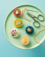 embroidered floral felt pins