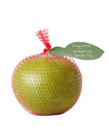 pomelo in red package with note