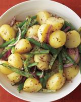 potato green bean salad white plate
