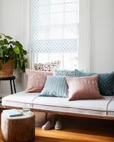 stenciled botanical throw pillow