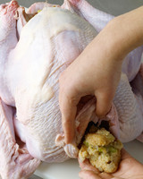 turkey prep stuffing front cavity