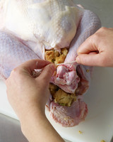 turkey prep stuffing tying legs together