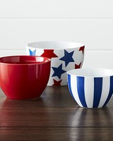 Crate & Barrel Stars and Stripes Porcelain Bowls