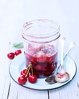 sour-cherry preserves in a glass jar