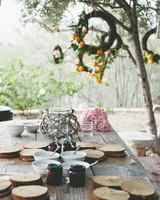 sweet laurel retreat long table in trees