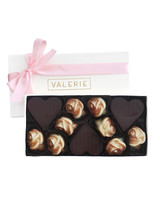 valerie chocolate gift box with pink ribbon