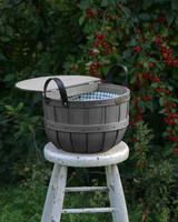 black driftwood basket on stool