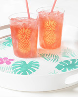 pineapple stencil on cups