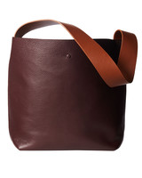 wide-strap leather tote bag
