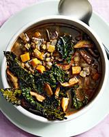 lentil soup with crispy kale