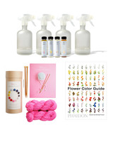 cleaning products knitting kit and flower book