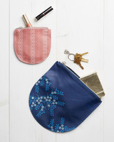 Stenciled Leather Pouches bags