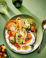 tomato salad with chile yogurt