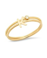 gold initials ring set
