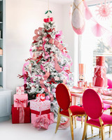 nutcracker christmas party pink red decor white covered tree
