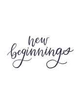 """new beginnings"" calligraphy"