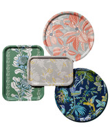 multi-colored floral patterned trays