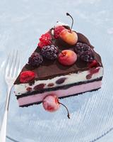 berries cherries ice cream cake