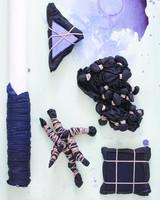 assortment of dyed fabric bundles