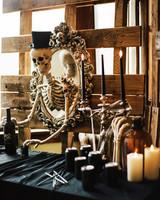 eli skeleton masquerade birthday party close up dead bartender drinks table decor