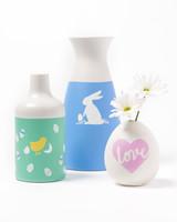 plaid stenciled easter flower vases