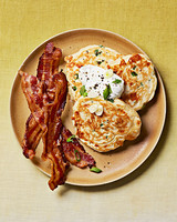 savory cheddar scallion pancakes bacon