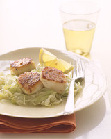 Seared Scallops with Cabbage and Leeks