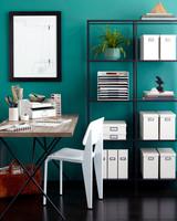 green home office organization