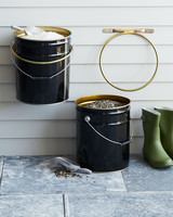 feed bucket holders with seeds and salt