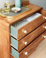 wooden dresser with painted sides