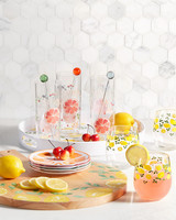 summer citrus drink glasses set