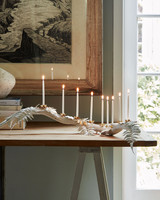chalk painted white manzanita menorah